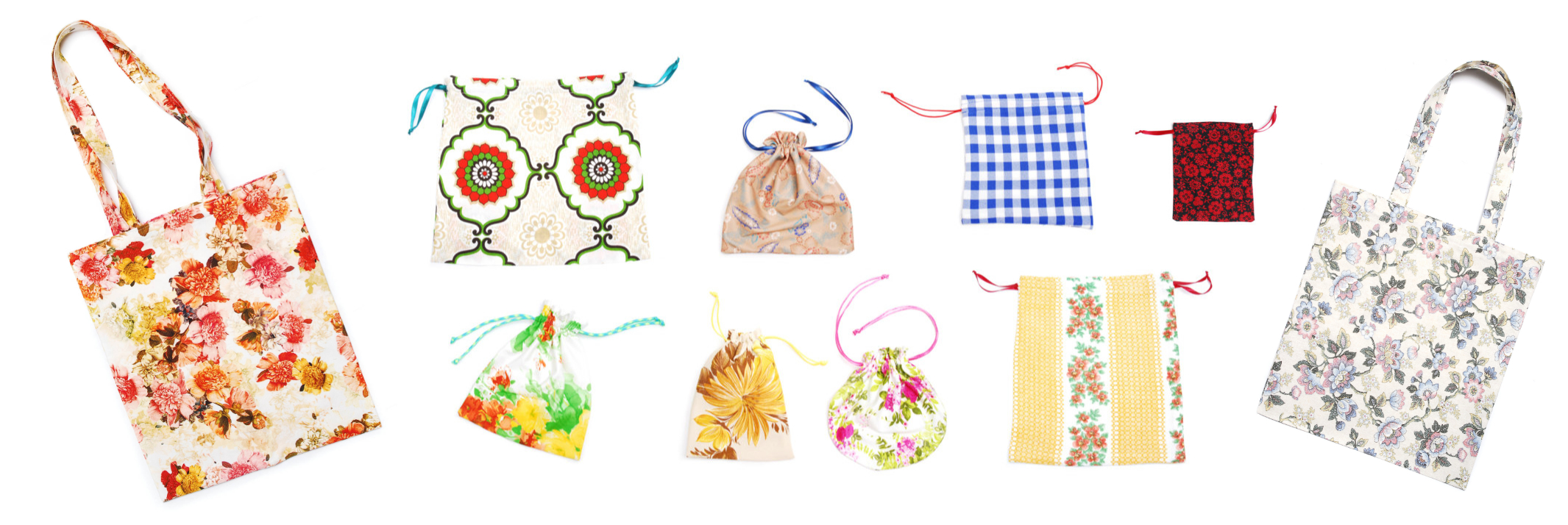 Handmade gift wrap and tote bags